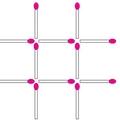 マッチ棒を3本動かして、正方形を3つにしましょう