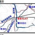 2015年に東名から圏央道外回りへのランプウェイが一部、暫定2車線化された海老名JCT(画像出典:NEXCO中日本)。