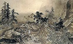 国宝 四季山水図(山水長巻)[部分]雪舟等楊筆 一巻 文明18年(1486)毛利博物館蔵