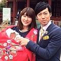 お宮参りをした東貴博・安めぐみ夫妻と長女・詩歌ちゃん