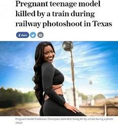 モデルデビューを果たした女性、この直後に列車にはねられ死亡(出典:http://www.telegraph.co.uk)