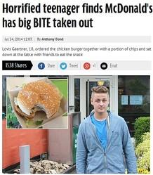 スイスのマクドナルド、誤って食べかけバーガーを提供(画像はmirror.co.ukのスクリーンショット)