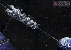 地球〜宇宙間の移動に革命をもたらすかもしれない「宇宙エレベーター」のイメージ(画像提供:大林組)。