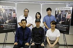(前列左より)谷昌樹、杉田智和、小林沙苗、(後列左より)原田晃、田村聖子、福田賢二