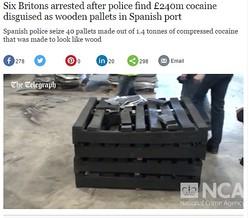 コンテナから発見。出荷パレットに化けたコカイン(画像はtelegraph.co.ukのスクリーンショット)