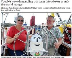 英・老夫婦16年の航海を終え祖国へ(画像はtelegraph.co.ukのスクリーンショット)
