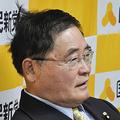 「怒髪天を突く」。菅政権への不信感を露わにする亀井静香代表。(11月17日、国民新党本部。写真:筆者撮影)