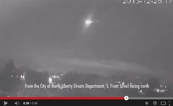 隕石か宇宙のゴミか。アイオワ州に巨大な火の玉。画像はYouTubeのスクリーンショット