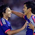 武藤嘉紀(写真中央)がアギーレJAPANの第1号ゴールを決めた 撮影/岸本勉・PICSPORT
