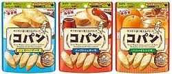 左から『コパン シュガーバター味』、『コパン メープルシュガー味』、『コパン ハニーオレンジ味』