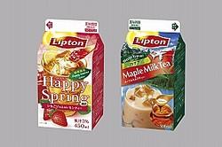 (左)「リプトン いちごジャム&レモンティー」、(右)「リプトン カナダメープルミルクティー」