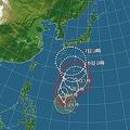 台風20号進路予想図(2日午前6時現在)
