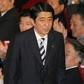 20日、第21代自民党総裁に選出された安倍氏。(撮影:吉川忠行)