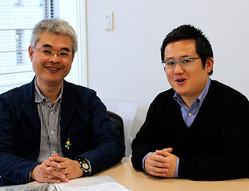 ニッポン放送の煙山光紀アナウンサー(写真左)と、洗川雄司アナウンサー(右)。明日のJリーグ開幕戦は煙山アナが実況を、洗川アナがピッチレポーターを務める。