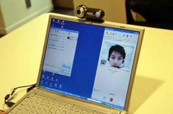 テレビ電話機能Skypeの画面(撮影:関口哲司)