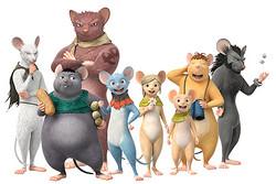 『GAMBA ガンバと仲間たち』(左から、ガクシャ、マンプク、ヨイショ、ガンバ、潮路、忠太、ボーボ、イカサマ)(C)SHIROGUMI INC.GAMBA