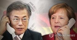 電話会談する文大統領とメルケル首相(イメージ)=(聯合ニュース)