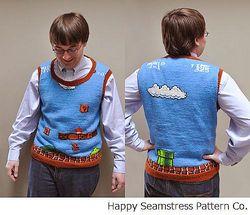 「スーパーマリオ」の手編みセーターに絶賛相次ぐ、パターンも公開中。