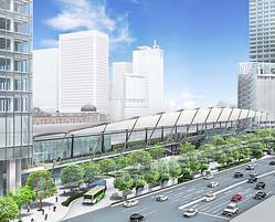 東京駅八重洲口に屋根付き歩行空間「グランルーフ」9月完成へ