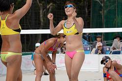 準優勝の内田暁子。パートナーの草野に引っ張られながら、サーブ、スパイクの強さ、ミスの少なさなどビーチでも通用する能力の高さを示した。