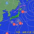 21日午後9時の予想天気図。