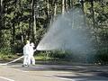 原発敷地内でまかれた浄化水(東京電力提供)