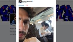 イケメンDFラノッキア、新幹線で移動!見知らぬ男性と自撮りする