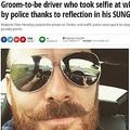 運転しながら自撮り、警察から追われている男(出典:http://www.mirror.co.uk)