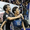 シリア戦では2ゴール・1アシストの活躍。香川(10番)はトップ下で躍動し、日本代表の攻撃を牽引した。写真:佐藤 明(サッカーダイジェスト写真部)