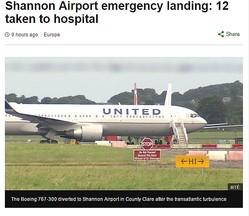 アイルランド上空で乱気流に巻き込まれたUA機(出典:http://www.bbc.com)
