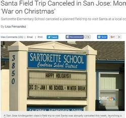 ユダヤ教徒の家庭に配慮してクリスマス行事を中止とした米・小学校(画像はnbcbayarea.comのスクリーンショット)