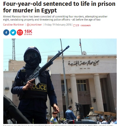 [画像] 【海外発!Breaking News】4歳男児に終身刑! 子供にそれは厳しい国エジプト、誤認逮捕の末に