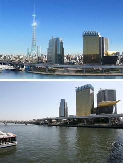 すみだタワーのイメージイラスト(上段)と現在の建設予定地周辺(イラスト提供:東武鉄道、撮影:吉川忠行)