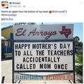 先生を「お母さん」と呼ぶのは海外でも テキサス州にある看板が話題