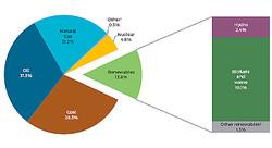 再生可能エネルギー 〜 世界全体ではバイオマスと水力の割合が圧倒的シェア