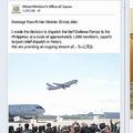 「いいね!」が7万件近く寄せられた英語版の記事。自衛隊員が輸送機を見送っている