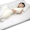 写真は「ボディピロー」/ロフテーでは、太田睡眠科学センターとの共同開発で、仰向けになりにくい設計のユニークな「横向き寝促進枕」も販売中。