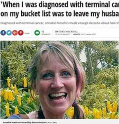がん宣告された女性、夫のもとを去る決意(出典:http://www.mirror.co.uk)