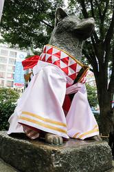 シブフェス開幕 ハチ公が「水引」衣装にドレスアップ