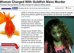 ボーイフレンド宅の金魚を漂白剤で殺した女(画像はthesmokinggun.comのスクリーンショット)