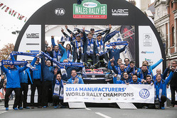 Sebastien Ogier (FRA),  Julien Ingrassia (FRA), VW Team  celebrate the podium during FIA World Rally Championship in Deeside, Great Britain on 30  October 2016