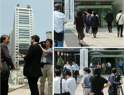 東京都港区で開かれた、フジテレビ株主総会の会場前の様子。(撮影:東雲吾衣)