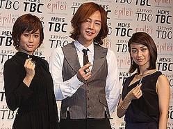 TBCの広告に起用された3人。左から前田敦子さん、チャン・グンソクさん、大島優子さん