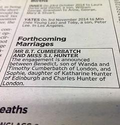 ベネディクト・カンバーバッチ、婚約を英紙タイムズ告知欄で発表