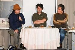 美術史などを紐解きながら藤田嗣治や映画について語った三人(左から)椹木野衣、会田誠、小栗康平
