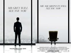左はミスター・グレイ、右はミスター・スクエアパンツ  - (C)2015 Universal Studios (C)MMXIV Paramount Pictures Corporation. All Rights Reserved.