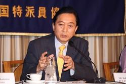 慰安婦問題をめぐって鳩山由紀夫氏は韓国側と歩調を合わせた(2015年4月撮影)