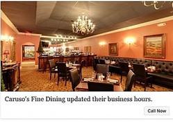 「5歳未満の子供はお断り」のレストラン(出典:https://www.facebook.com/Carusos-Fine-Dining-266868693755484)