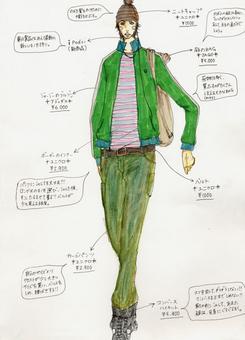 「エルメスグランプリ」に選ばれた愛知県・中部ファッション専門学校の原田悠美さんのデザイン画。(提供:アパレルクリック)