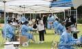 学校の運動場に設けられた新型コロナウイルスの検査所(資料写真)=(聯合ニュース)